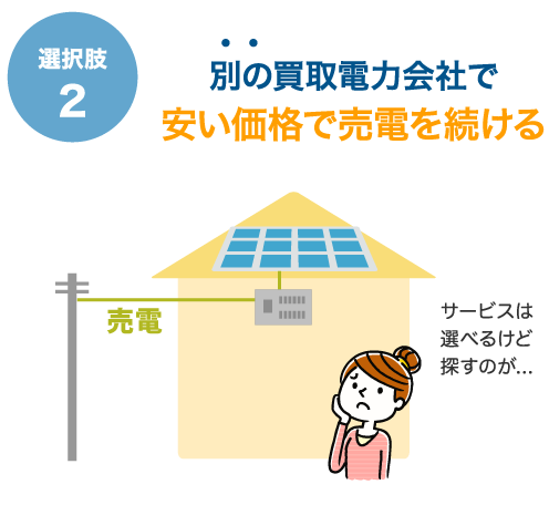 選択肢2 別の買取電力会社で安い価格で売電を続ける サービスは選べるけど探すのが...